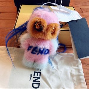 Authentic and new Fendi pirochan fur bag charm